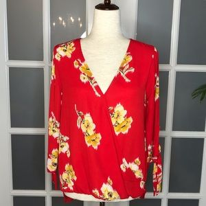 NWOT Women's sz S, Red with Yellow Floral Blouse